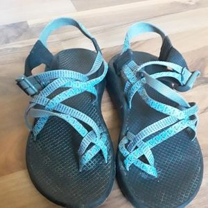 Gray and Blue Chacos